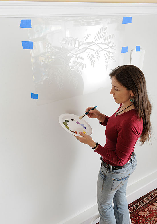 wall stencil brush technique