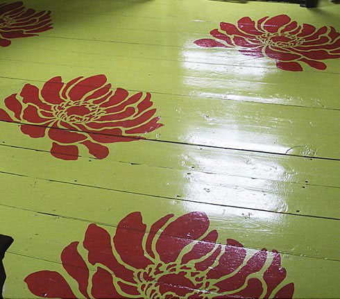 Flower stencil floor art