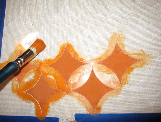 Nagoya craft stencil on fabric