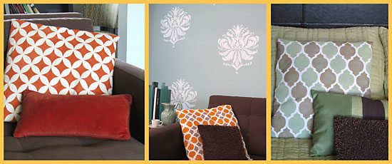 fabric stenciled pillows