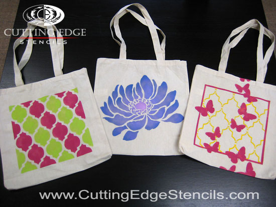 Stenciled tote bags