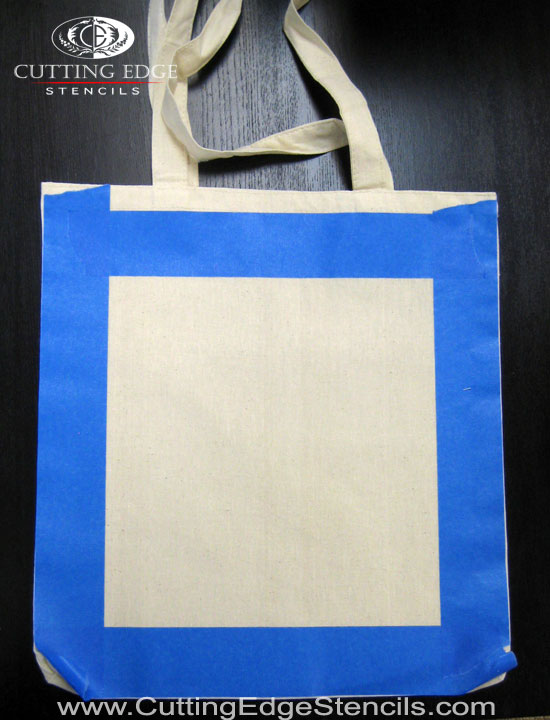 tape out tote bag for stencil project