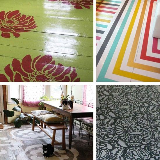 stenciled floors DIY home decor