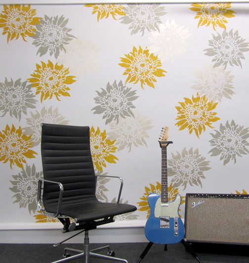Flower stencil feature wall