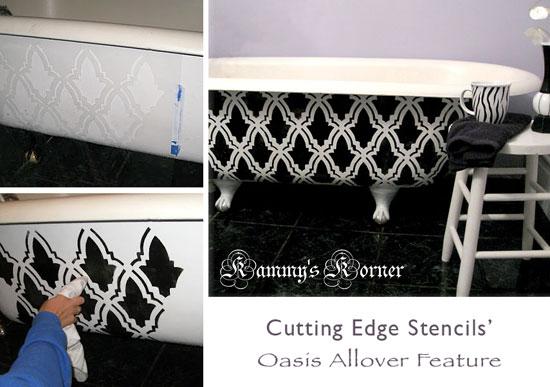 Oasis stencil bathtub DIY makeover
