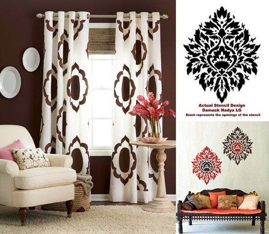stencil decorating ideas DIY curtains for home decor