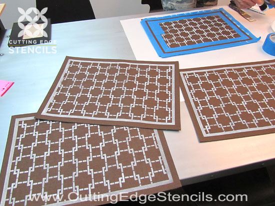 Stenciled DIY placemats for kitchen decor