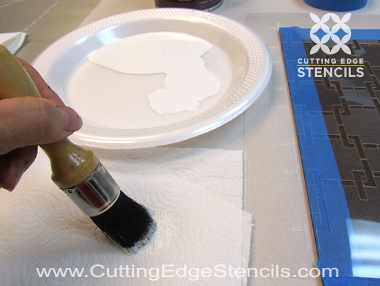 DIY stencil brush stenciling kitchen decor