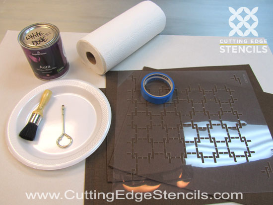 Stencil supplies for DIY kitchen decor