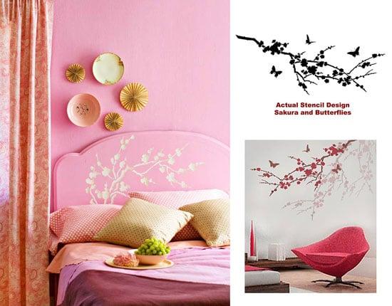 Sakura and Butterflies DIY stenciled heaboard