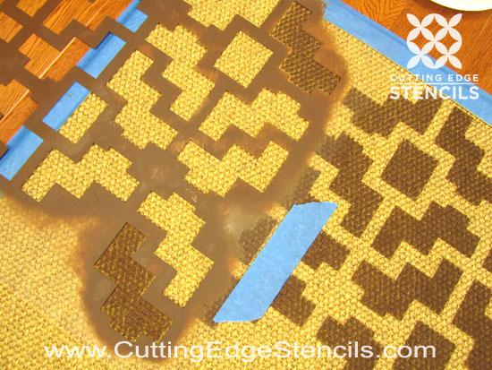 stenciling DIY rug tutorial