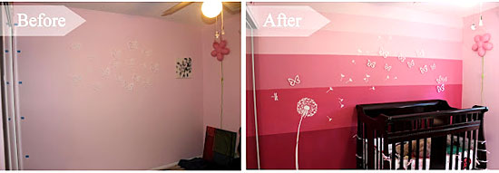Dandelion Stencil Wall Before and After