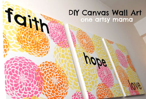 Flower Stencil Wall Art With Diy Stencils