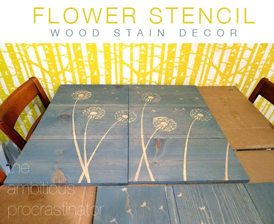 Diy Design Ideas Flower Stencil Wood Stain Decor Stencil