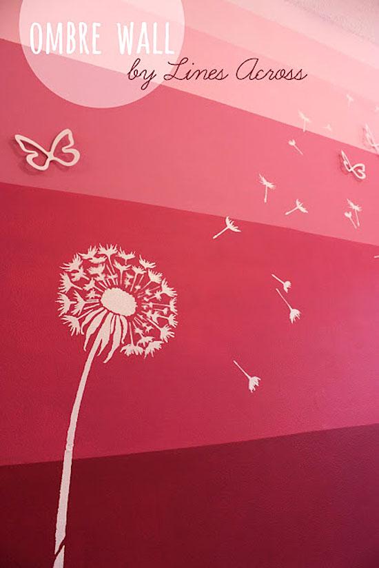 Dandelion Stencil Ombre Feature Wall