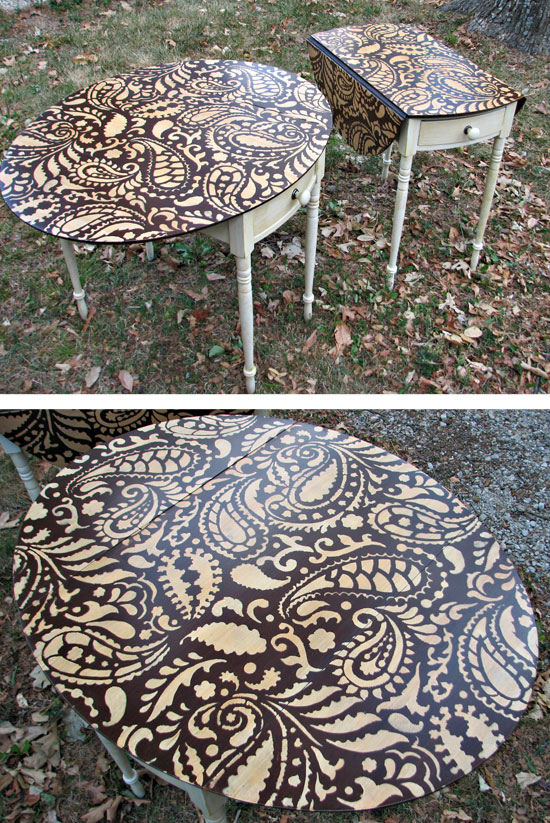 Painting Ideas With Stencils Diy Paisley Tabletop