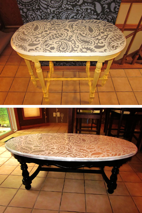 Painting Ideas with Stencils: DIY Paisley Tabletop