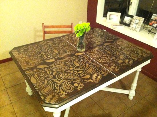 Ordinaire Stenciled Tabletop DIY Kitchen Decor