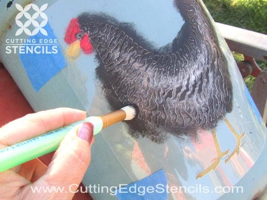 Stenciling Chicken Stencil Tutorial