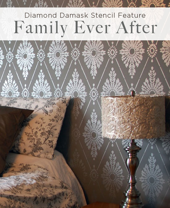 Damask stencil feature wall for bedroom ideas