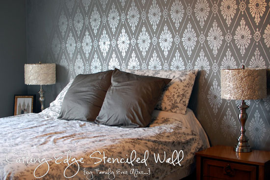 Damask Stencil For Bedroom Feature Wall