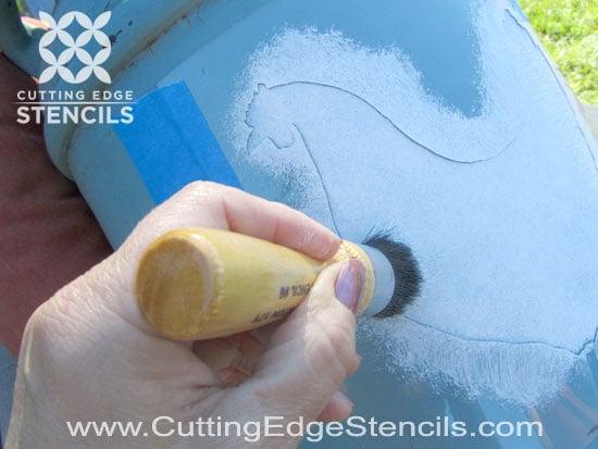 Stenciling chicken stencil for country decor