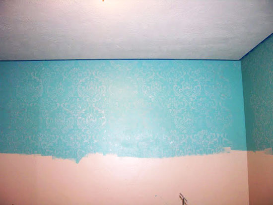Almost finished Anna Damask Allover Stenciled Wall