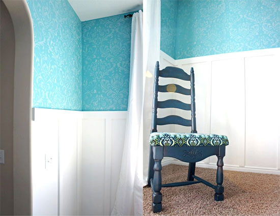 Anna Damask Wall Stencil pattern transformed this room