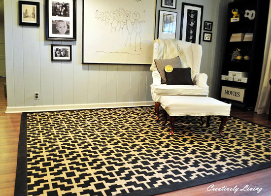 This Rug was stenciled with our Shipibo Allover Stencil