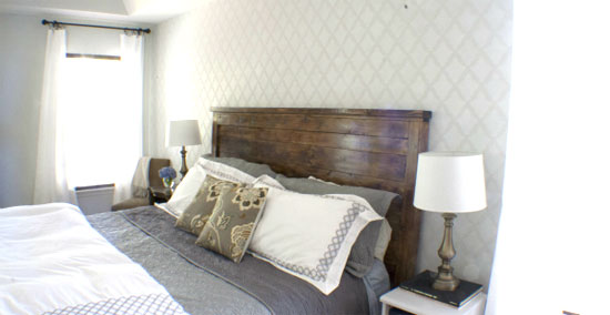 Bedroom Decorating Ideas Diy Stenciled Accent Wall
