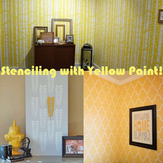 Stenciling with yellow paint is a fun, current color trend