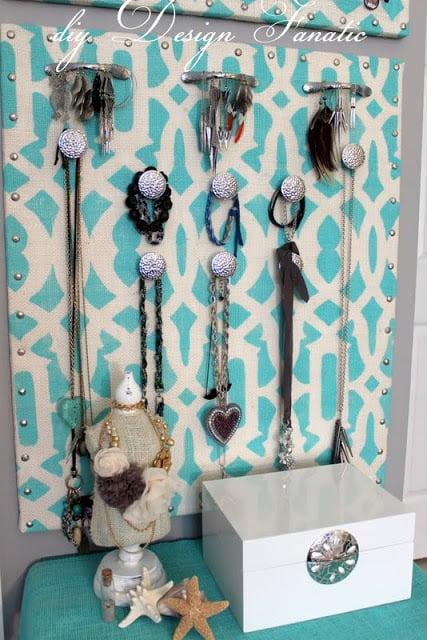 Beautiful stenciled jewelry organizer