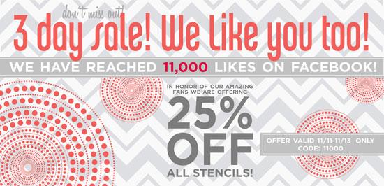 Cutting Edge Stencils Reaches 11K Facebook likes!!