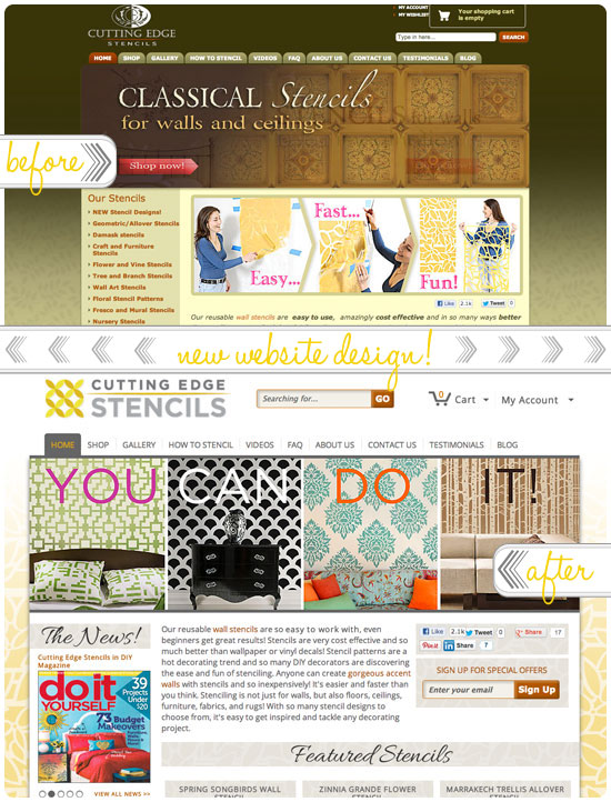 Before/After Cutting Edge Stencils Website redesign