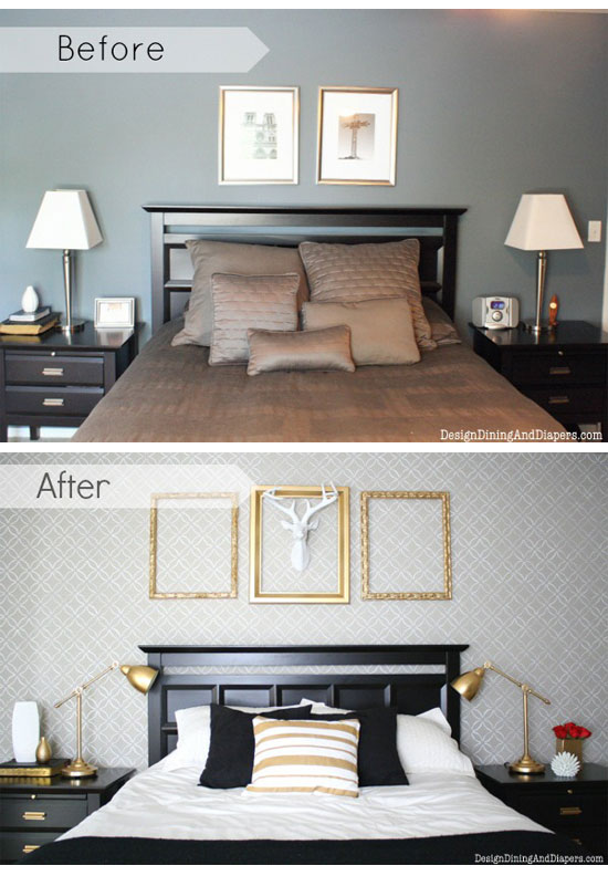 Amazing Before After Bedroom Using Fuji Allover Stencil