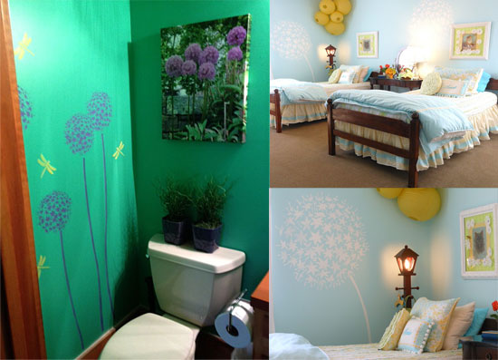 A few examples of Allium flower stencils used on walls!
