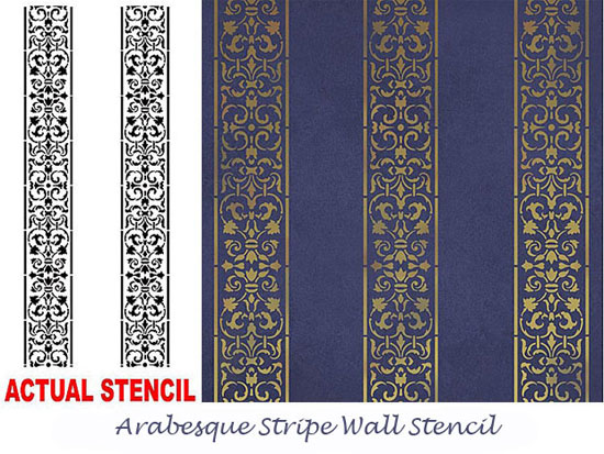 Arabesque Stripe Wall Stencil From Cutting Edge Stencils