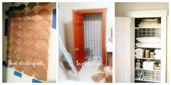 Stenciling a closet with Cutting Edge Stencils