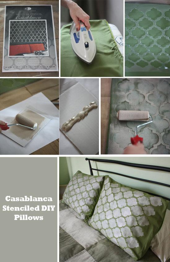Merveilleux Moroccan Stenciled Pillow Shams With Cutting Edge Stencils