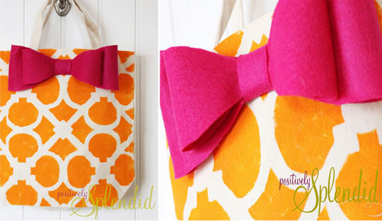 Bright, fun tote stenciled with Hand Forged Stencil
