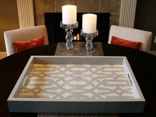 Such a cute Decorative DIY tray stenciled with Trellis Allover Stencil