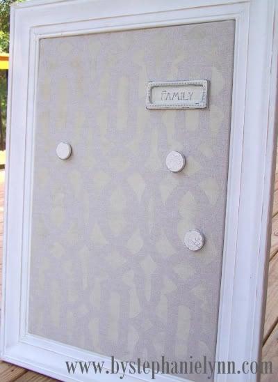 Stenciled Magnetic Memo Board using Trellis Allover Stencil