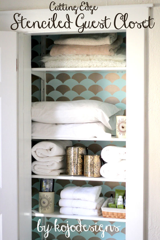 Stenciled closet interior with Fishscale Allover Stencil from CEStencils
