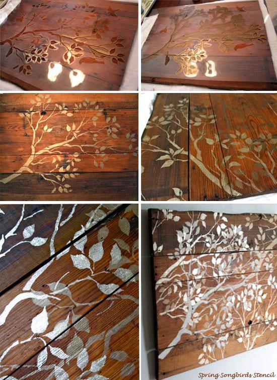 Stencil Ideas Stenciling Wood Wall Art