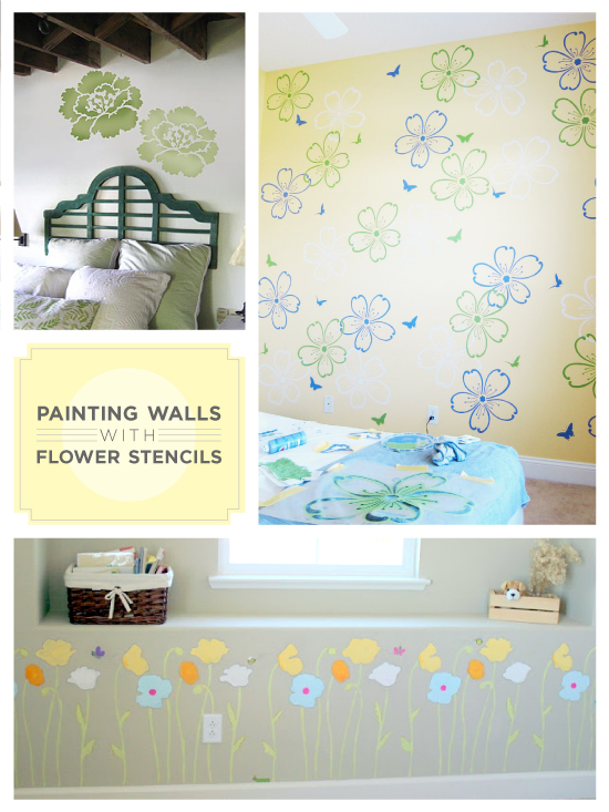 Painting flower stencils on walls with Cutting Edge Stencils
