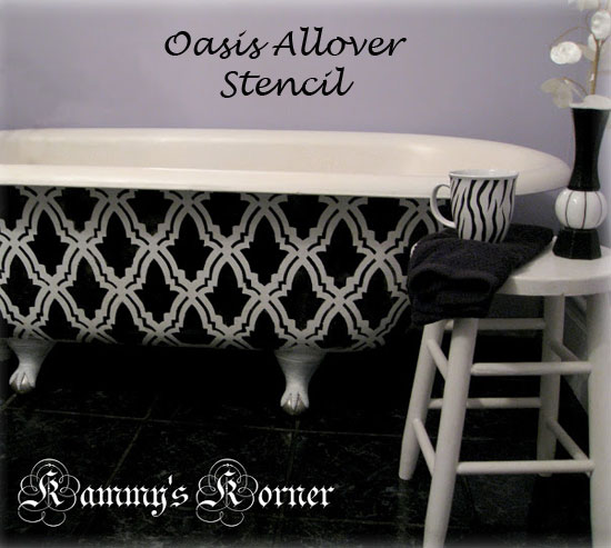 Oasis allover stenciled bathtub
