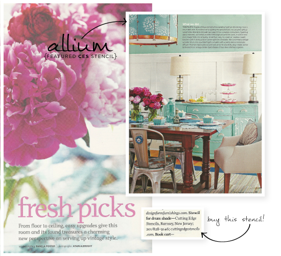 CEStencils' Allium Stencil was featured in DIY Mag's Spring 2013 issue