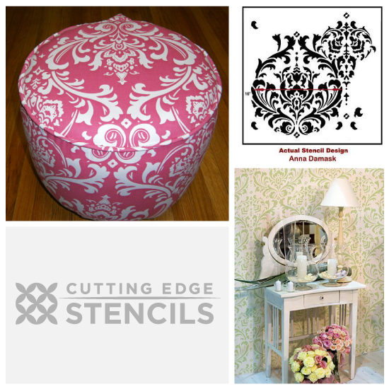 Get the look: Anna Damask Stenciled ottoman with Cutting Edge Stencils