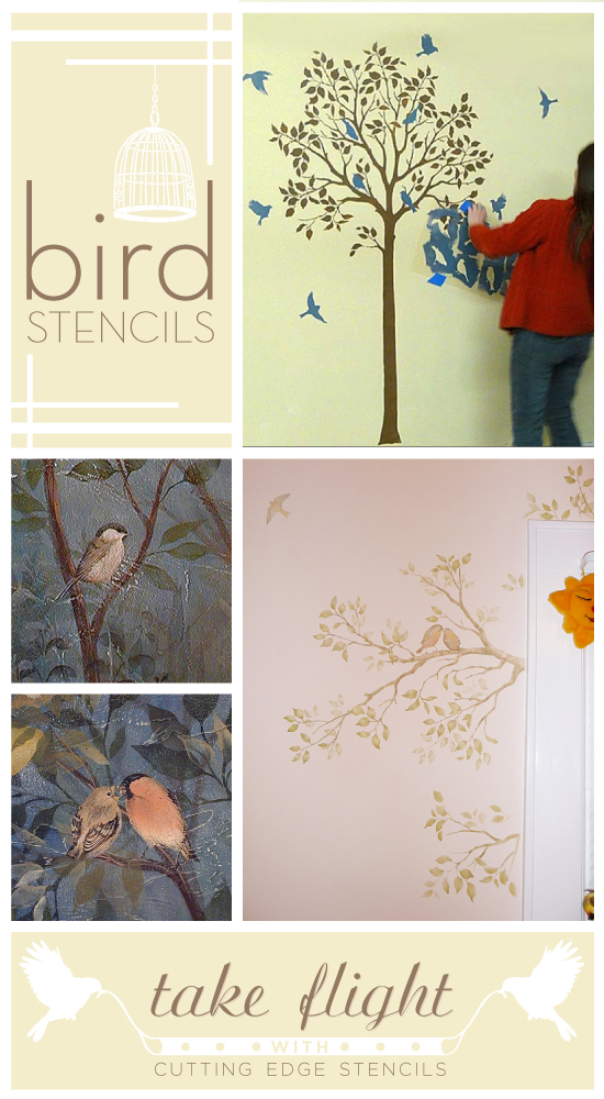Paint with Bird Stencils and take flight with Cutting Edge Stencils