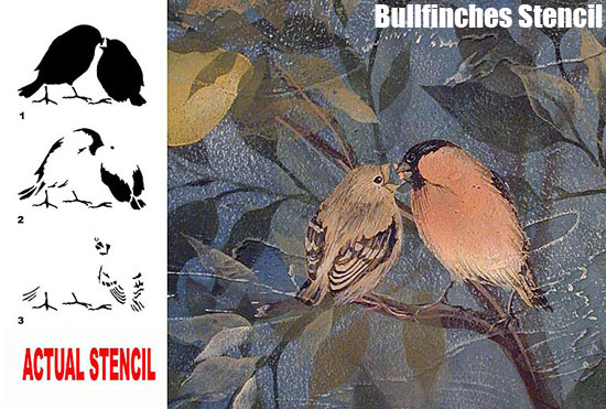 Bullfinches bird stencil from Cutting Edge Stencils